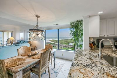View from the kitchen/dining room of the ocean and south end of the Island.