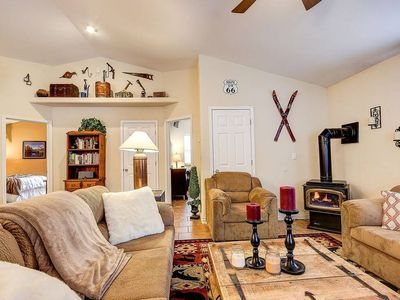 Photo for A Cozy Cabin in the Woods - Open Concept with Fireplace &  all the Amenities