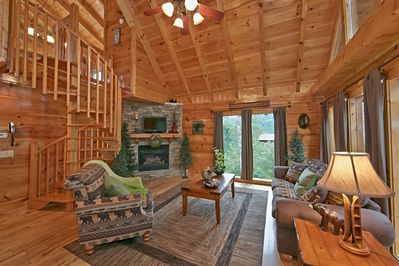 Living Room - Stone Stacked Fireplace - HDTV