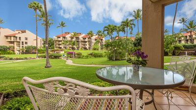 View from our lanai to the resort's vast courtyard garden