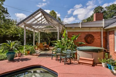 Hot tub and covered patio