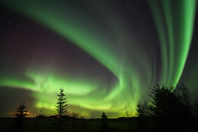 Photos of the northern lights taken from the house