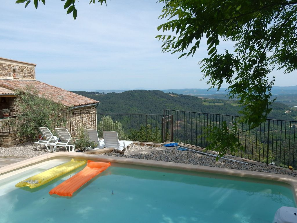 Beautiful House Made Of Natural Stone With Swimming Pool And Very Nice View Rocher Ardeche