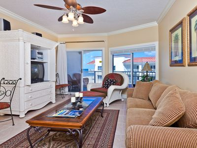 Photo for Gulf-Front Condo with Spacious Living Area, Private Balcony, Immediate Beach Access & Outdoor Pool.