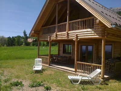 Photo for Log cabin in a lovely quiet and sunny, overlooking the valley and near the tracks.