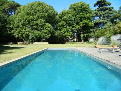 Photo for Old mas 3500m2, fenced pool, large park and shaded