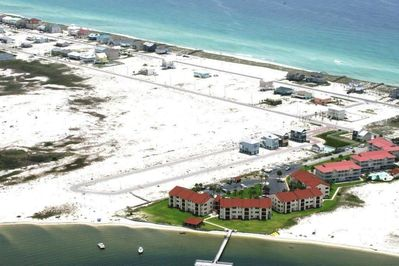 sky view of complex, santa rosa sound and gulf