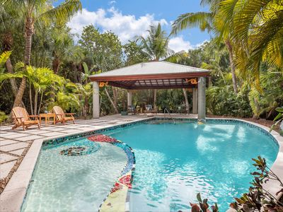 Photo for Architecturally stunning, home with the feel of a Balinese resort nestled in tropical gardens