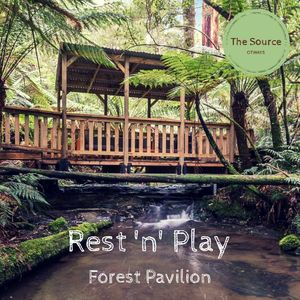 pack a picnic to enjoy the Forest Pavilion suspended over a creek