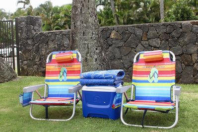 We provide beach chairs, beach towels and a cooler.