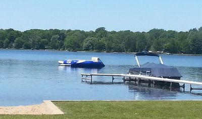 23 ft. Aqua Glide Super Tramp with Slide and Log - Tons of Fun!