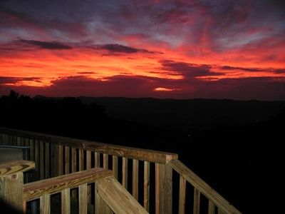Amazing Sunsets can be seen from the cabin, deck and hot tub
