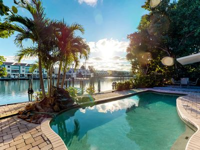 Photo for NEW LISTING! Waterfront home w/private pool, deck & patio- 1/2 mile to the beach