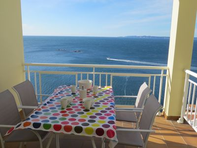 Photo for 2. Apartment with incredible views of the Bay of Roses with community pool.