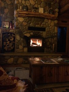 Relax by the fire in Fall/Winter!  Wood provided with log home rental.
