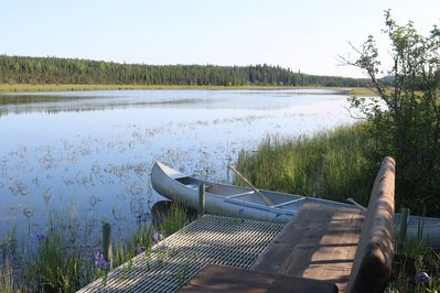 Private dock and canoe on Moose River