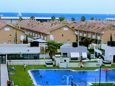 Photo for Beach Apartment, Panoramic Frontal Sea Views, Terrace, Pool, Gated Complex.