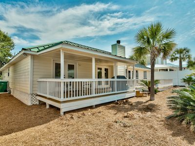 Photo for Beach Oasis - 3bed/2bth Cottage, 1 Block from Beach, Huge Deck!