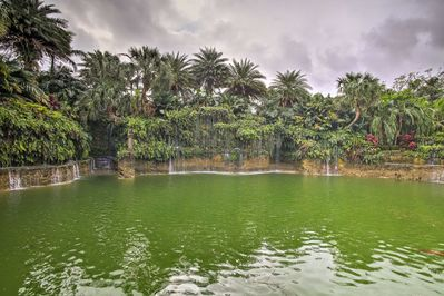 Up to 7 travelers will love taking a stroll to the on-site lagoon.