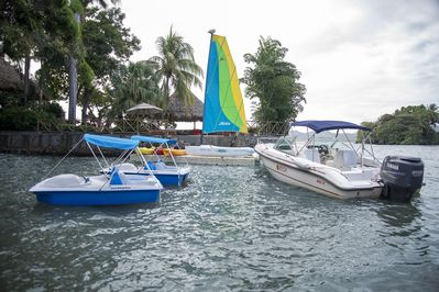 We have a Sail Boat, 3 kayaks, 2 paddle boat, and boat. You will be picked up at