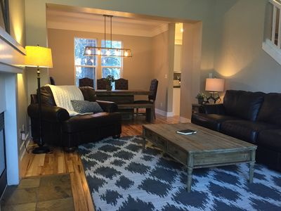 Welcome to our Comfortable Craftsman Cottage. Bright, spacious living room.