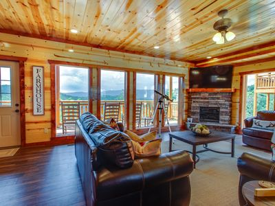 Photo for A Heavenly View ~ 6 BR, 6.5 Bath Cabin with Indoor Pool, Theater, Game Room, & Hot Tub ~ Sleeps 28