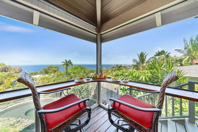 Lanai with ocean view and bar seating for two