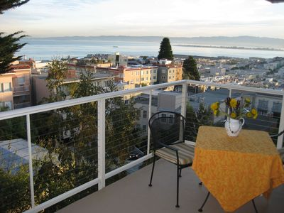 Spectacular views from the large Russian Hill balcony