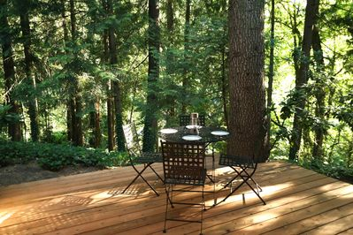 Our private deck with calming forest views. Perfect for eating or having a drink