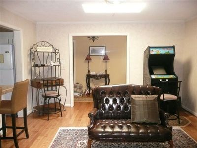 Family room with internet access and arcade game