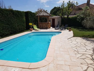 Photo for provencal pool paillotte house at the foot of the luberon 8 people