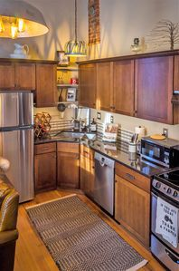 New kitchen with your complimentary bottle of Mercer Estates Wine