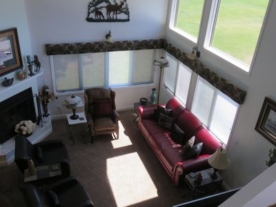 Great room with large windows
