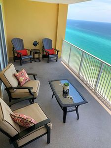 A 300 sqft balcony with comfy furniture and the most spectacular view!