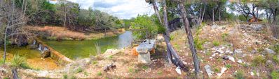 This panorama shows the area between the creek at the property line to the cabin