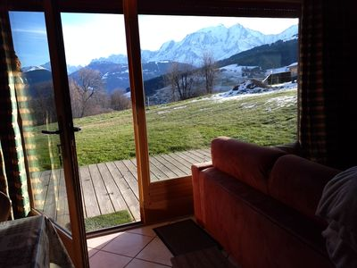 Photo for It is an apartment in a chalet. It is located opposite Mon-Blanc and not overlooked. In summer you can enjoy the garden and in winter an ideal field for a game of snowballs battle!