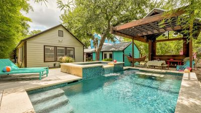 Beautiful Backyard Oasis with pool, hot tub and covered dining area!