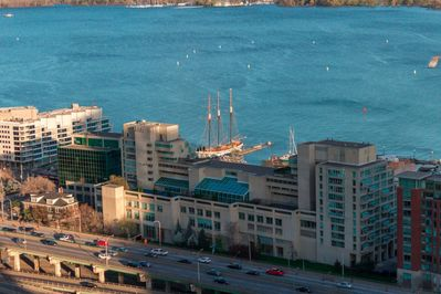 More view of the Gardner Expressway and Toronto waterfront from the condo balcony