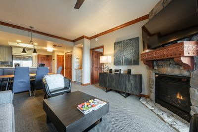 Fire place at living room and dinning table