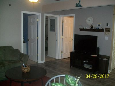 Comfortable living area with T V blue ray player with netflix and stereo
