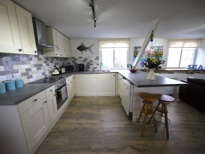 The kitchen, with sea views