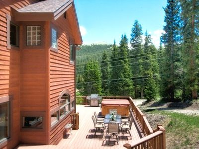 Photo for Beautiful Mountain Views! Hot Tub! Pet Friendly. Surrounded by Alpine Forest!