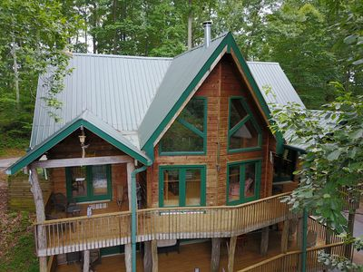 Photo for Mossy Rock Lodge 3 BR  Log Cabin in the Trackrock area of Blairsville, GA.