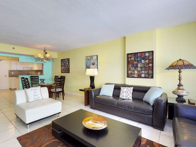 Photo for Oceanview condo w/ shared pool - close to restaurants, right on the beach!