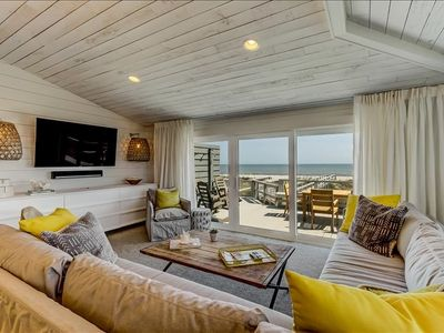 """Photo for 1940 South is one-side of a stunning ocean front duplex.  Also known as the """"Yellow"""" side due to the fabulous bright yellow barn doors located on the second floor in the spacious living area.  Professionally decorated with custom pieces."""