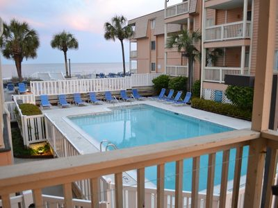 Photo for 🏖    FiRST FLOOR CONDO, BALCONY OVERLOOKING POOL, SUN DECK &  BEACH BEYOND
