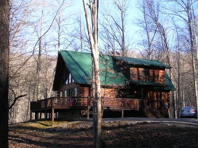 Grand Seclusion with plenty of flat parking. Paved roads up to driveway.