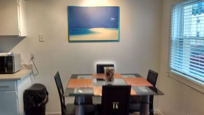Light and airy dining area in comfortable updated condo!
