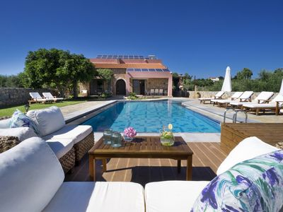 Photo for Countryside Large Pool villa Nafsika w/Childrens Play Area 6 km to the Beach.