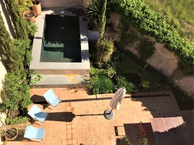 Garden and pool from roof terrace